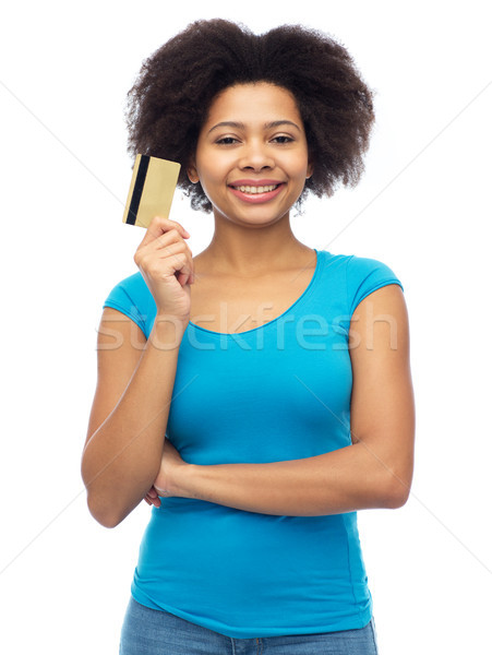 happy african american woman with credit card Stock photo © dolgachov