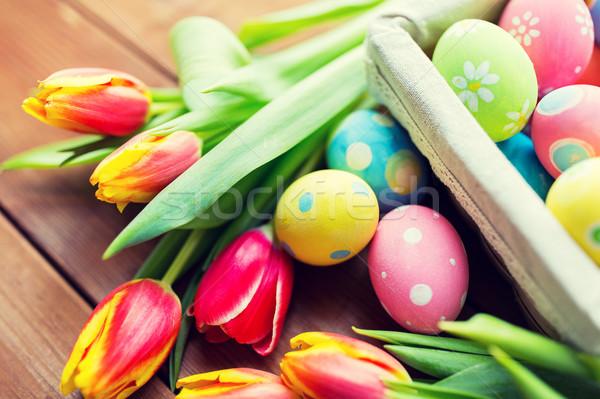Huevos de Pascua flores Pascua vacaciones Foto stock © dolgachov