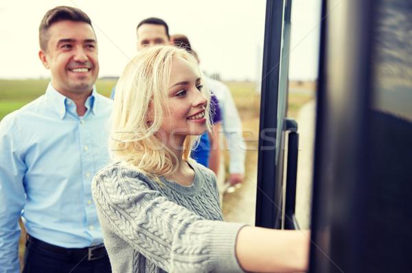 Stok fotoğraf: Grup · mutlu · yatılı · seyahat · otobüs