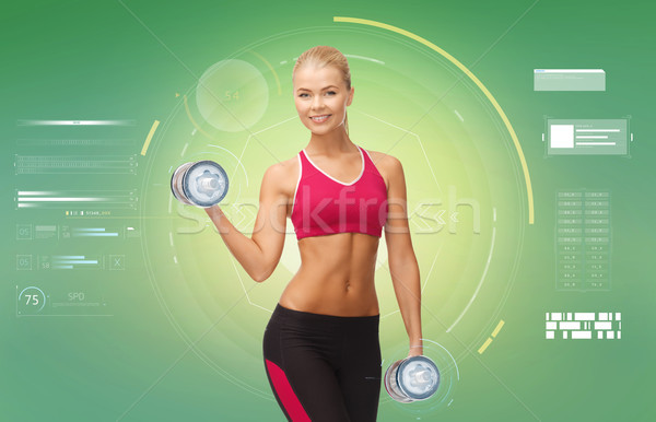 happy sporty woman with dumbbells flexing biceps Stock photo © dolgachov