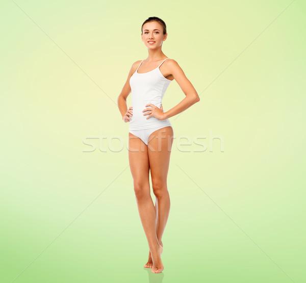 Gyönyörű fiatal nő fehér alsónemű szépség emberek Stock fotó © dolgachov