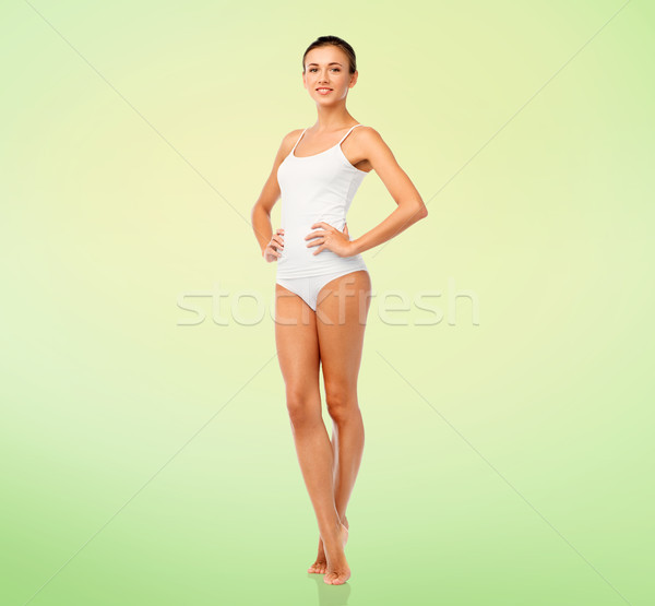 beautiful young woman in white underwear Stock photo © dolgachov