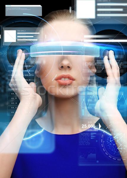 Kadın sanal gerçeklik 3d gözlük bilim Stok fotoğraf © dolgachov