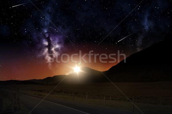 Tájkép napfelkelte éjszakai ég űr hegyek lövöldözés Stock fotó © dolgachov