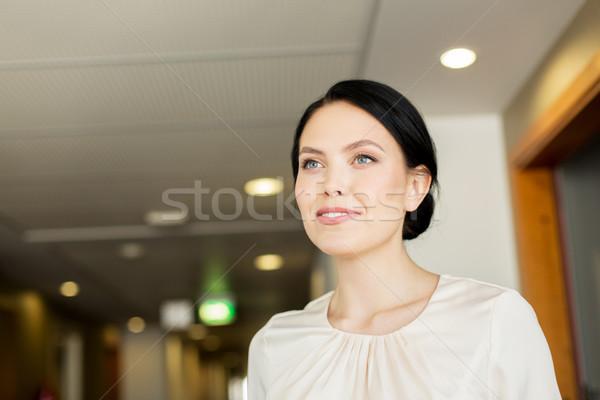 счастливым женщину коридор отель деловые люди Сток-фото © dolgachov