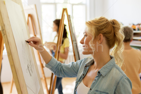 woman with easel drawing at art school studio Stock photo © dolgachov