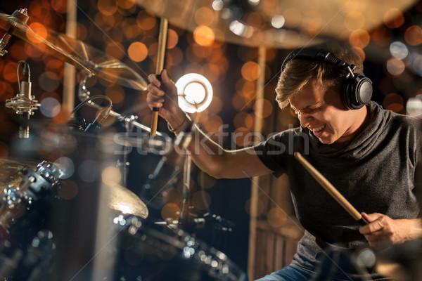 Stockfoto: Mannelijke · muzikant · spelen · trommel · uitrusting · concert