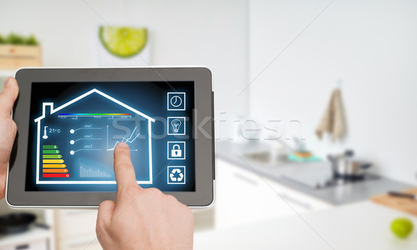 tablet pc with smart home settings on screen Stock photo © dolgachov