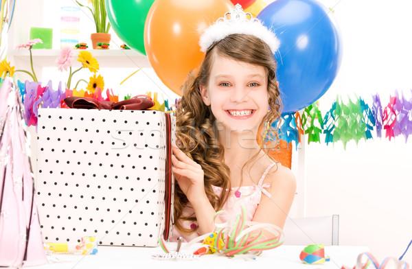 Festa menina balões caixa de presente feliz caixa Foto stock © dolgachov