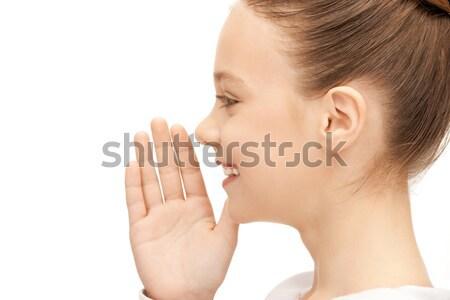 Tinilány suttog pletyka fényes kép lány Stock fotó © dolgachov
