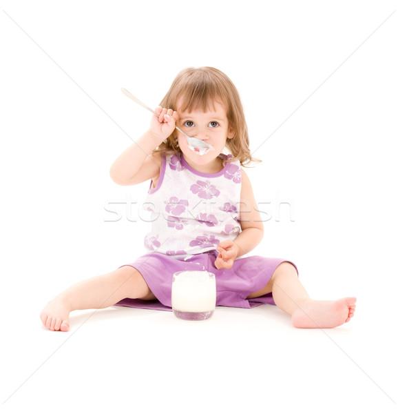 Nina yogurt Foto comer blanco alimentos Foto stock © dolgachov