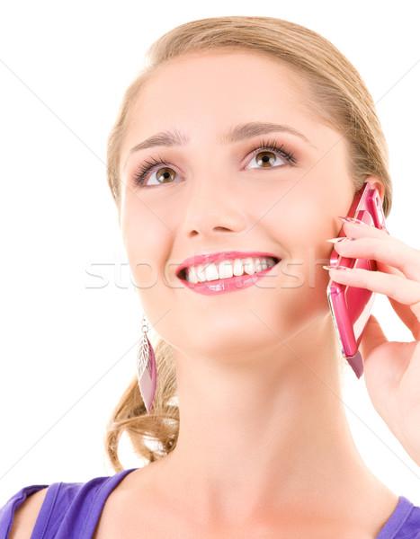 ストックフォト: 幸せな女の子 · ピンク · 電話 · 肖像 · 女性 · 顔