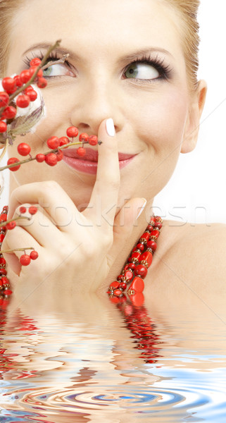 red ashberry girl in water Stock photo © dolgachov