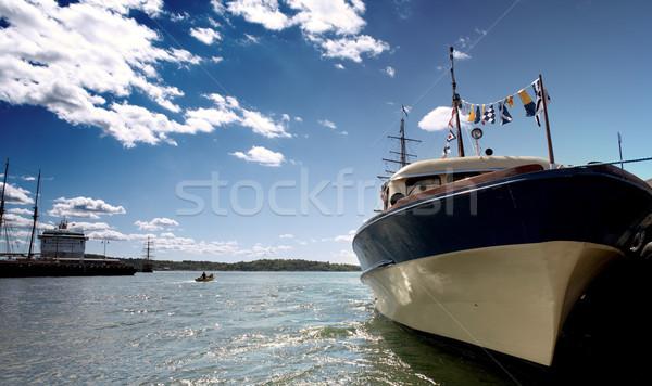 オスロ 港 ショット 船 空 水 ストックフォト © dolgachov