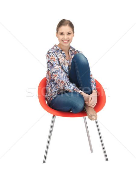 Boldog gondtalan tinilány szék fényes kép Stock fotó © dolgachov