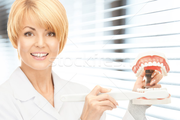 doctor with toothbrush and jaws Stock photo © dolgachov