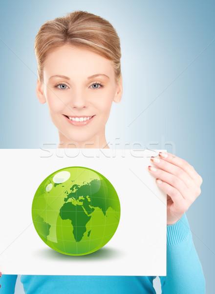 woman with illustration of green eco globe Stock photo © dolgachov