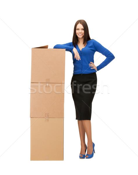 女性実業家 ビッグ カートン ボックス 画像 魅力的な ストックフォト © dolgachov