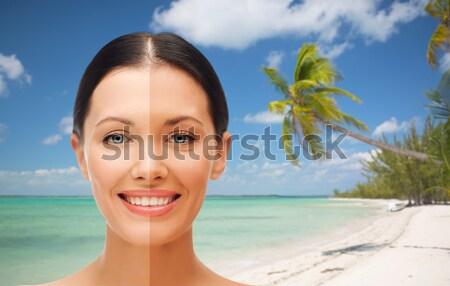 Kadın aloe tropikal plaj yüz sağlık yaz Stok fotoğraf © dolgachov