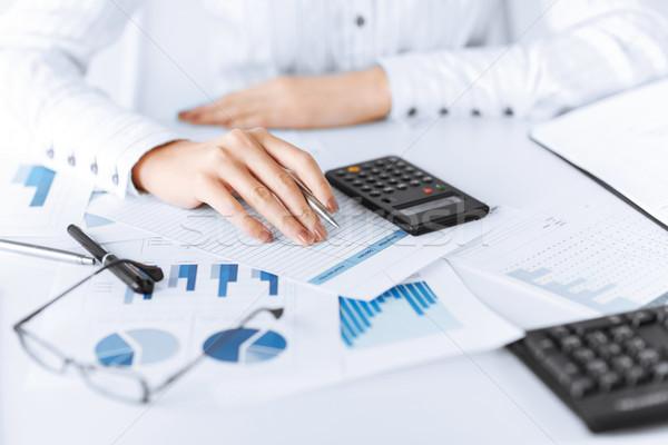 Nő kéz számológép papírok kép iroda Stock fotó © dolgachov