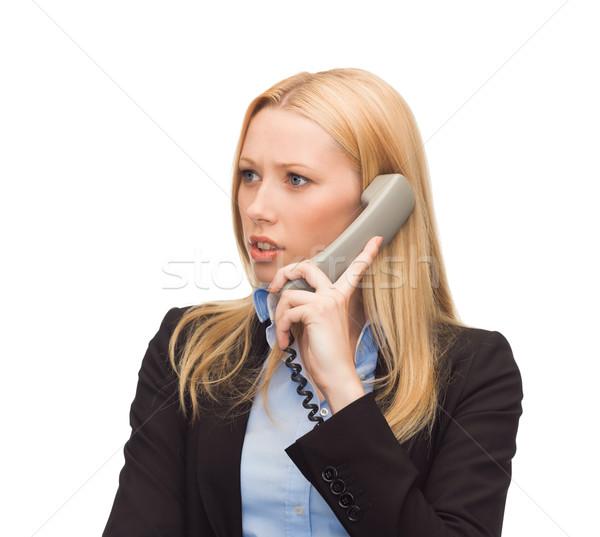 Quadro confuso telefone mulher brilhante escritório menina Foto stock © dolgachov