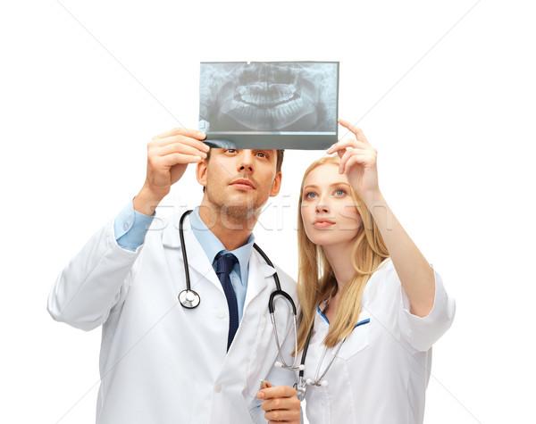 Сток-фото: два · врачи · Стоматологи · глядя · Xray · здравоохранения