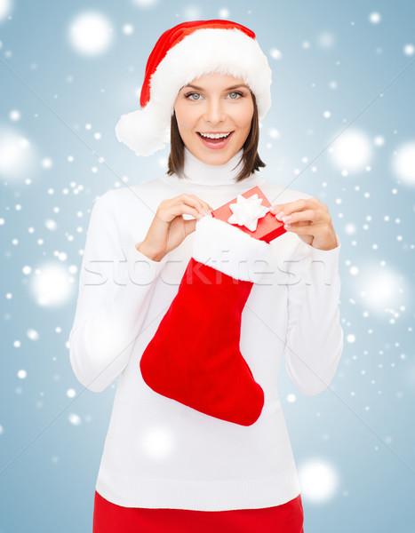 Donna Hat scatola regalo stocking Natale Foto d'archivio © dolgachov