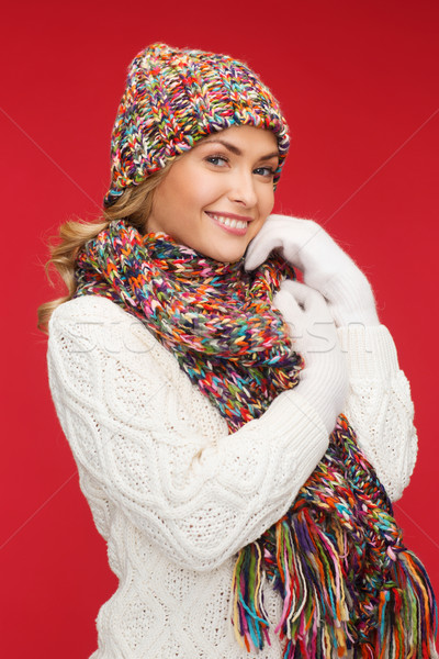 woman in hat, scarf and mittens Stock photo © dolgachov