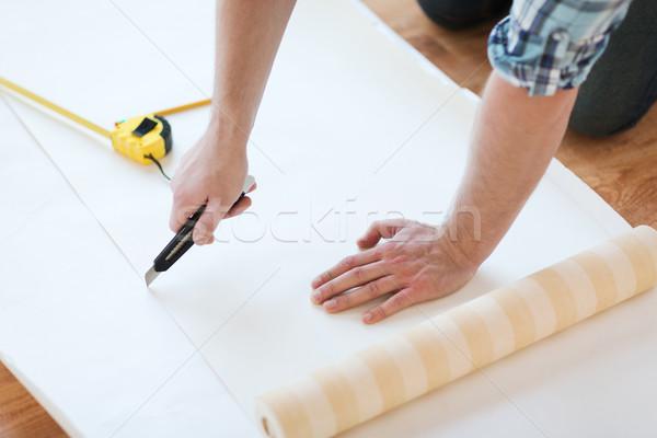 Photo stock: Homme · mains · wallpaper · réparation