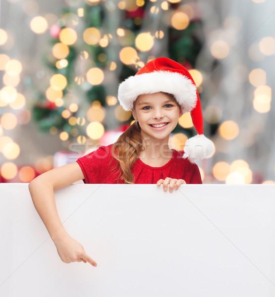 少女 サンタクロース ヘルパー 帽子 ホワイトボード クリスマス ストックフォト © dolgachov