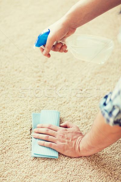 Erkek temizlik leke halı ev Stok fotoğraf © dolgachov