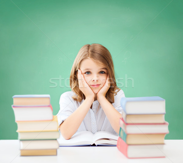 Foto stock: Feliz · estudante · menina · livros · escolas · educação