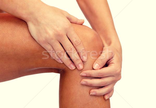 Foto stock: Feminino · mãos · joelho · fitness