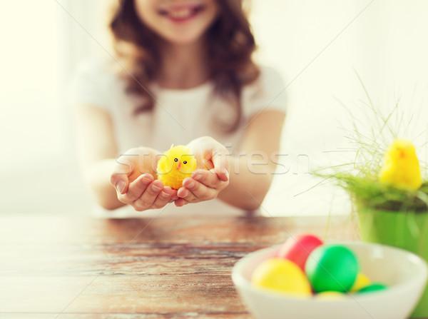 Meisje Geel speelgoed Pasen Stockfoto © dolgachov