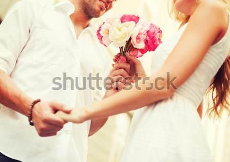 счастливым лесбиянок пару цветы люди Сток-фото © dolgachov
