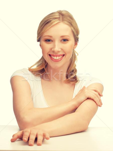 美人 長髪 顔 手 女性 幸せ ストックフォト © dolgachov