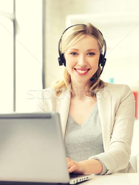 Segélyvonal kezelő laptop számítógép kép üzlet nő Stock fotó © dolgachov