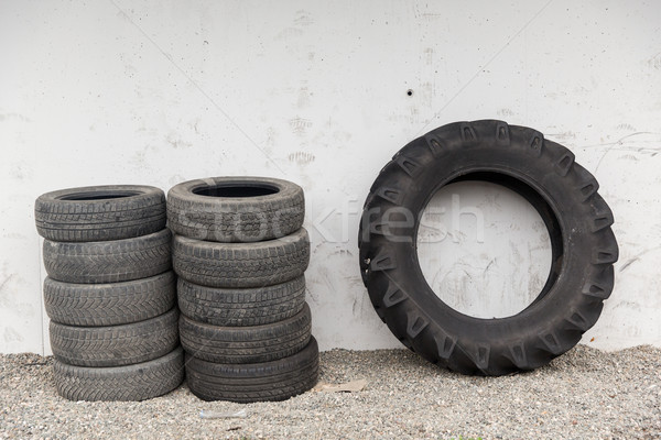close up of wheel tires stored near wall Stock photo © dolgachov