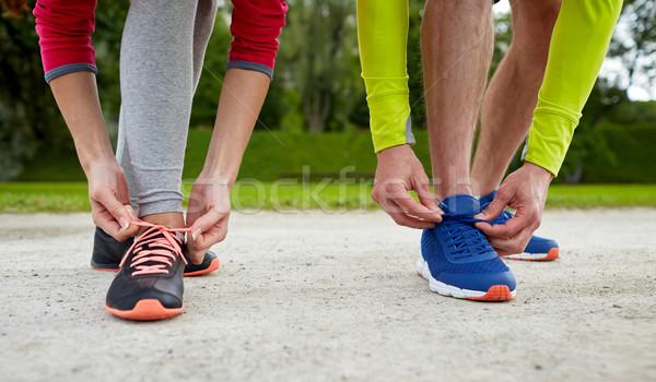 Paar schoenveters buitenshuis fitness sport Stockfoto © dolgachov