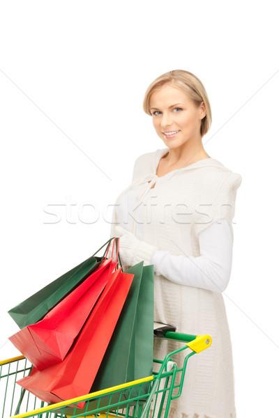 Vásárló nő bevásárlókocsi fehér lány boldog Stock fotó © dolgachov