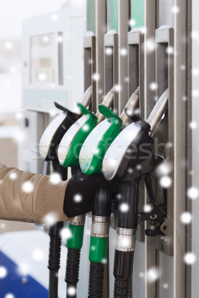 close up of man with fuel hoses at gas station Stock photo © dolgachov
