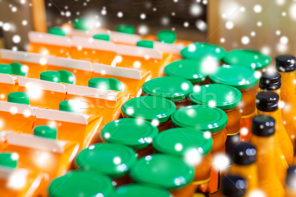 üvegek öko étel bio piac vásár Stock fotó © dolgachov