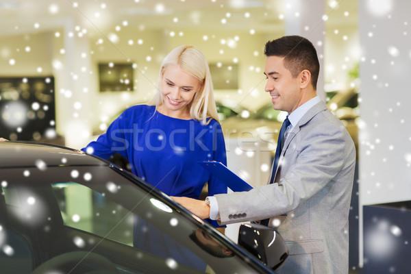 счастливым женщину Автосалон Auto шоу салона Сток-фото © dolgachov