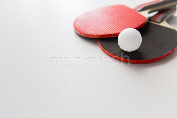 close up of table tennis rackets with ball Stock photo © dolgachov