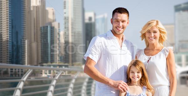 Boldog család Dubai figyelmeztetés nyár ünnepek utazás Stock fotó © dolgachov