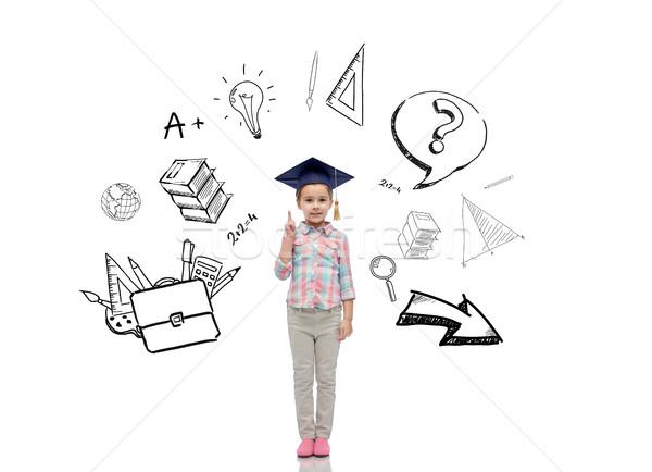 幸せな女の子 学士 帽子 幼年 学校 教育 ストックフォト © dolgachov