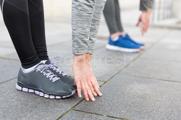 Paar straat fitness sport Stockfoto © dolgachov