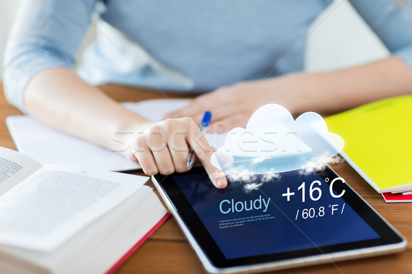 close up of woman with weather cast on tablet pc Stock photo © dolgachov