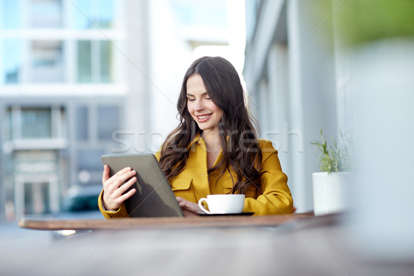happy woman with cocoa and tablet pc at city cafe Stock photo © dolgachov