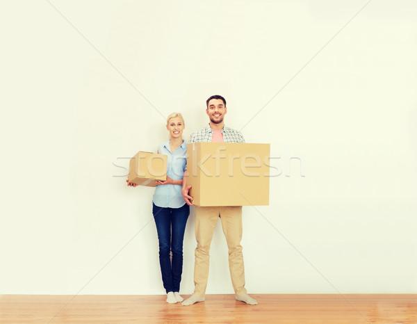 Stock fotó: Pár · karton · dobozok · mozog · új · otthon · otthon